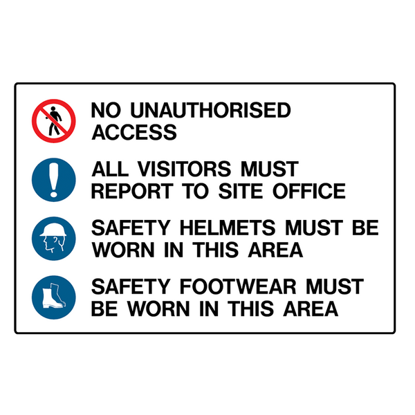 Brady Mandatory Stock Multiple Condition Signs: Unauthorised Access, Report To Site Office, Safety Helmets & Safety Footwear