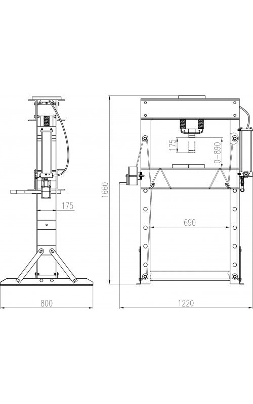Dimensions Tradequip Press Hydraulic 50T Rated 2037T