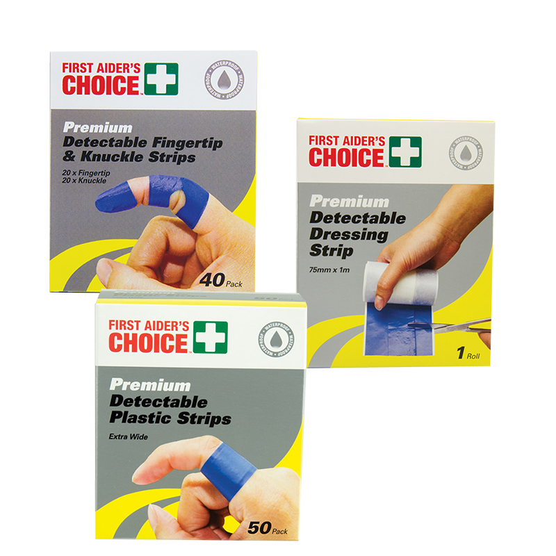 Trafalgar First Aiders Choice Detectable Adhesive Blue Strip Range