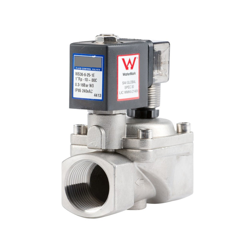 "GO Solenoid Valve 1/2"" to 2"" WS36 Watermark Approved Stainless General Purpose Normally Open Range"