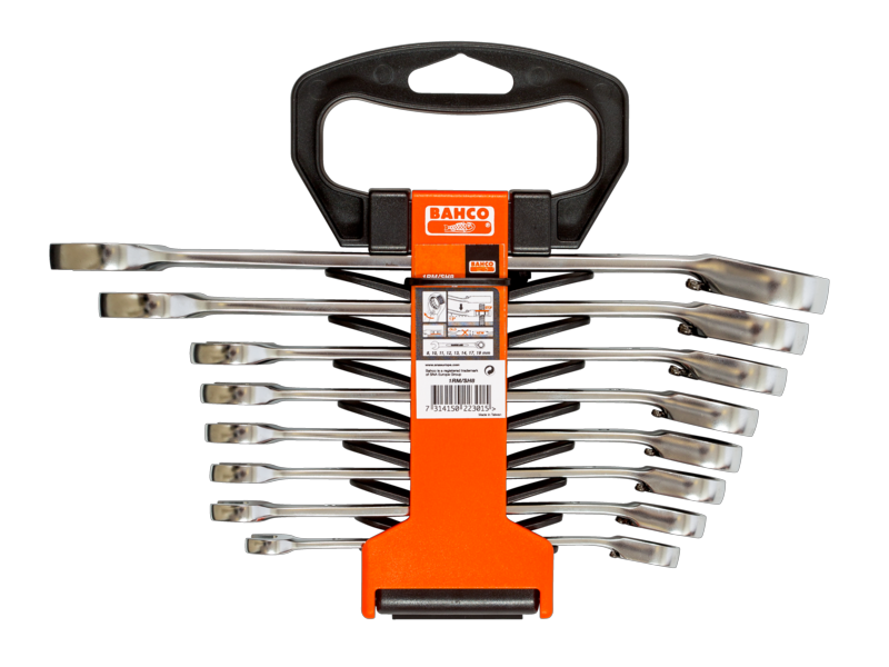 Bahco Spanner Kit 8 Piece Combination Ratchet Imperial 1RM/SH8
