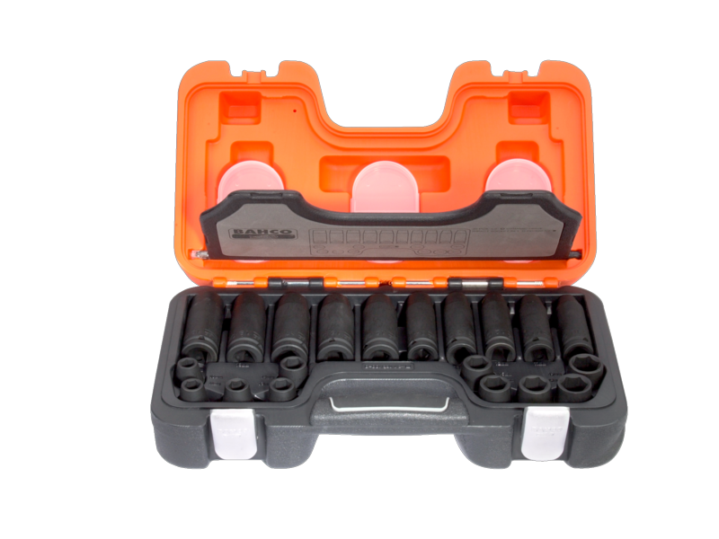 "Bahco Impact Tool Socket Set in Plastic Case 1/2"" 20 Piece Metric D-DD/S20"