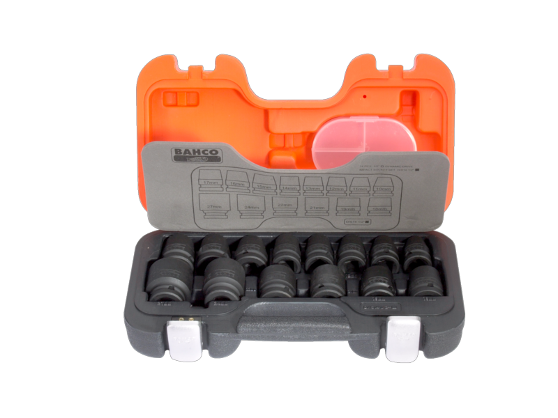 "Bahco Impact Tool Socket Set in Plastic Case 1/2"" 14 Piece Metric D/S14"