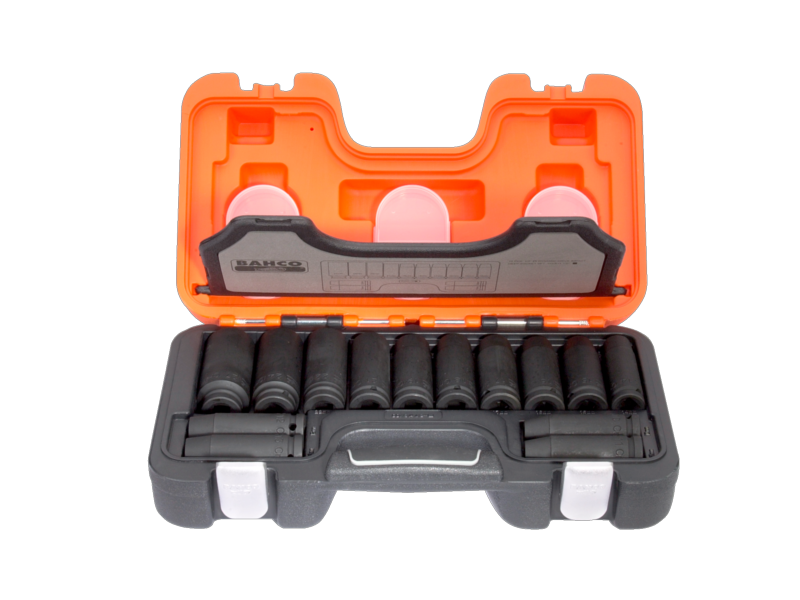 "Bahco Impact Tool Socket Set in Plastic Case 1/2"" Deep Impact 14 Piece Metric DD/S14"