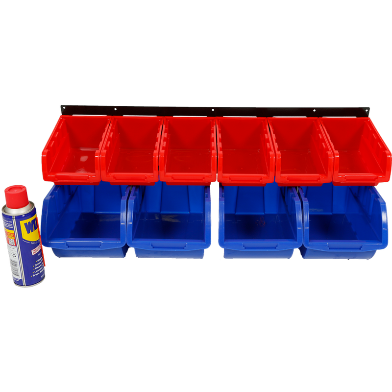 Red Label Parts Storage Bin Wall Rack 10 Bin RLS10BR