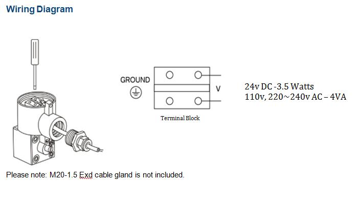 "Wiring Diagram - GO Namur Solenoid Spring Valve 1/4"" EXD 316 Stainless 5 Way 2 Position In Line ALV610P2"