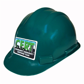 C.E.R.T. Green Hard Hat w/ Logo and 4-Point Ratchet Suspension