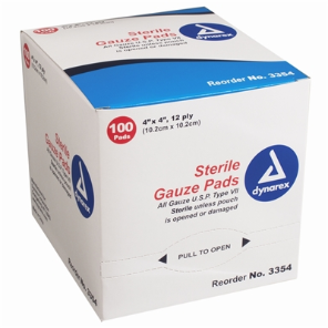 Gauze Pads 4'' x 4'' 100-Pack Sterile