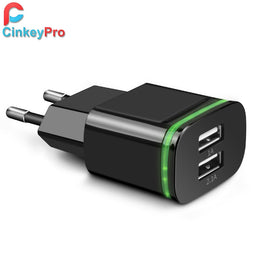 CinkeyPro EU Plug 2 Ports LED Light  USB Charger 5V 2A Wall Adapter Mobile Phone Device Data Charging For iPhone iPad Samsung - Yakir China Store