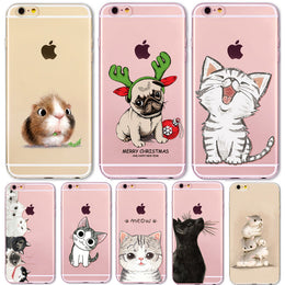 For iPhone6 Case Cute Cats Hamster Animals Case For iphone6 6S 6Plus 5 5s SE 4 4s Silicone Back Cover Case for iPhone5S Cover - Yakir China Store