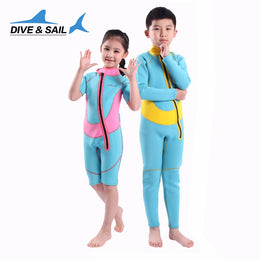 Thermal 2.5mm Neoprene Kids Wetsuit Dive  One-piece Short Or Long Sleeved