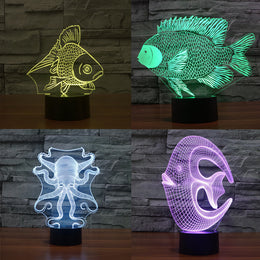 Creative  3D Illusion LED Night  Lamp Touch Control USB Gadget