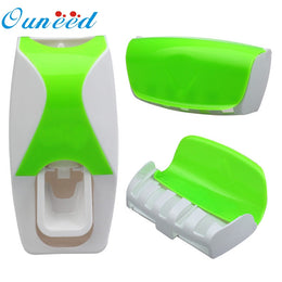 Automatic Lazy Toothpaste Dispenser with  5 Toothbrush Holder Wall Mount