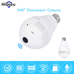 Bulb Light Wireless IP Camera Wi-fi FishEye  360 degree Full View  1.3MP  WiFi Camera Panoramic gadget