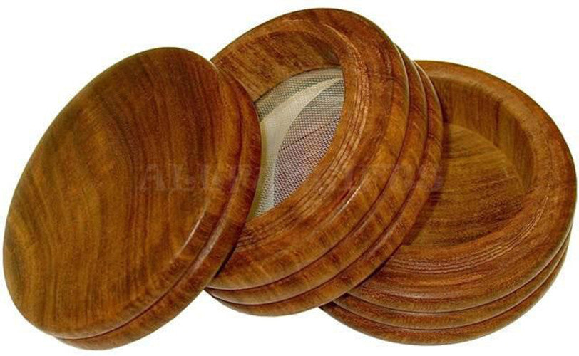 101mm Round Wood Sifter Box w/Screw On Lid