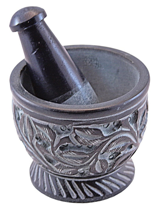 DISCONTINUED 76mm x 64mm Carved Flower Soapstone Mortar & Pestle