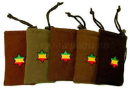 Drawstring Padded Pouch w/ Rasta Star Patch - Medium
