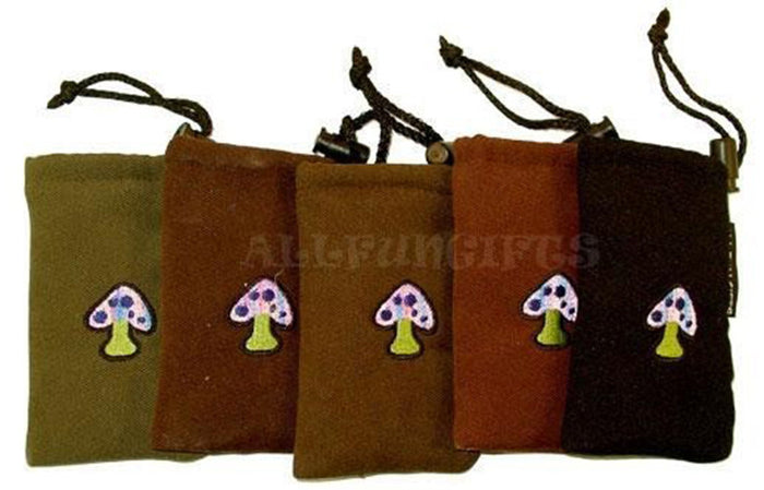 DISCONTINUED Drawstring Padded Pouch w/ Mushroom Patch - Medium