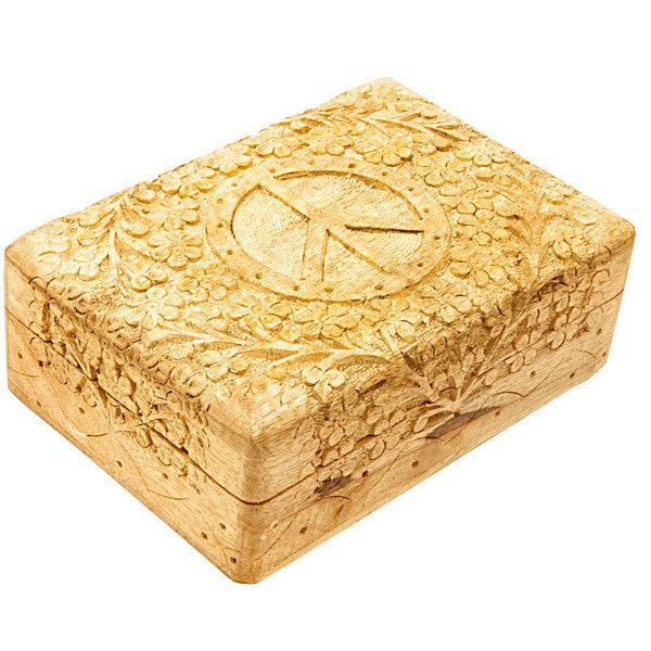 DISCONTINUED 178mm x 127mm Carved Wooden Box - Peace Sign