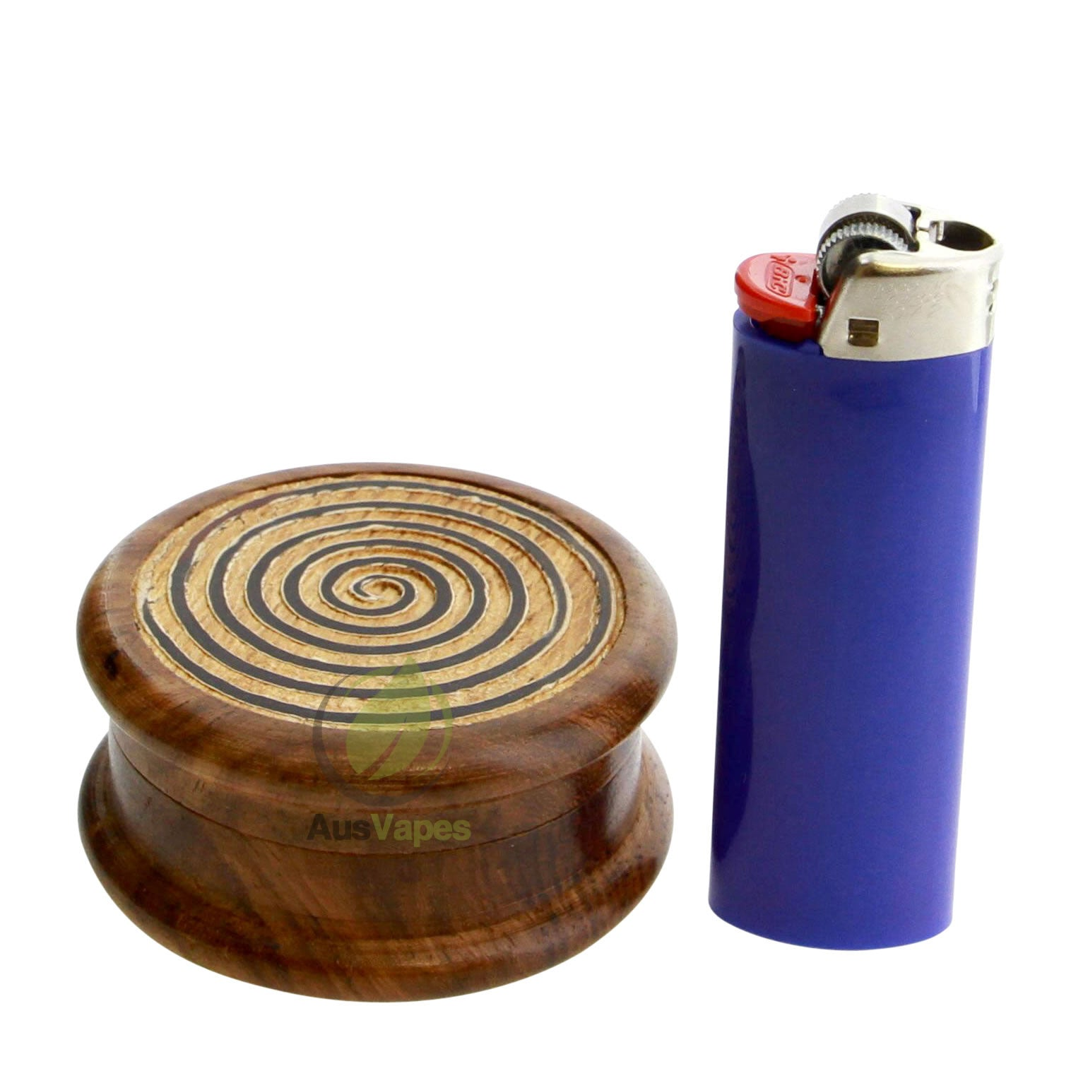 DISCONTINUED 64mm 2pc Wooden Grinder w/ Spiral Design