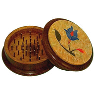 57mm 2pc Wooden Grinder w/ Soapstone Design