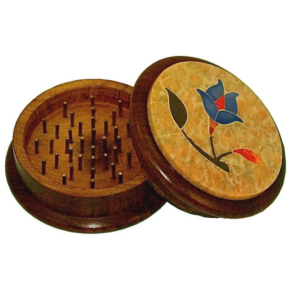 DISCONTINUED 57mm 2pc Wooden Grinder w/ Soapstone Design