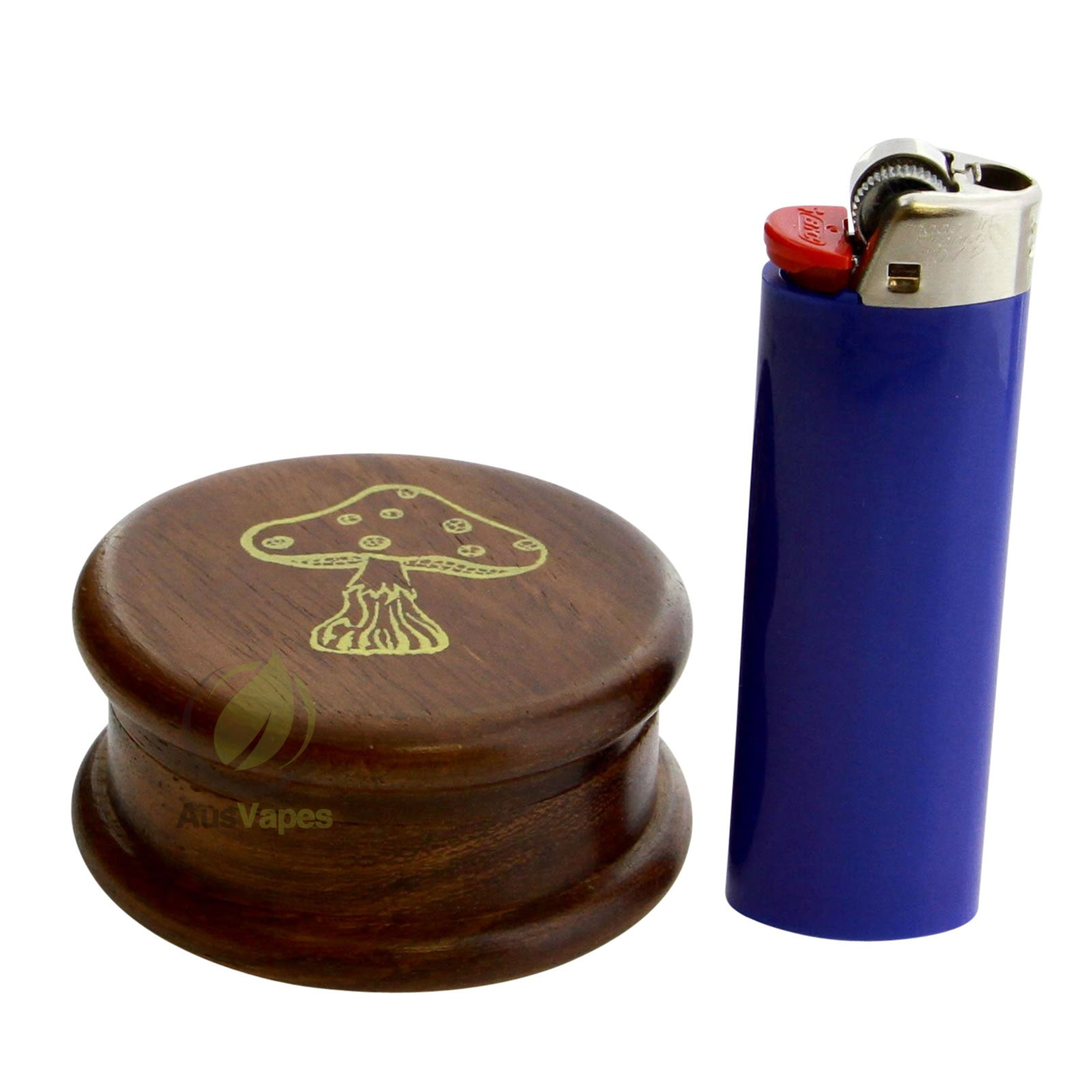 DISCONTINUED 51mm 2pc Wooden Grinder w/ Mushroom Design