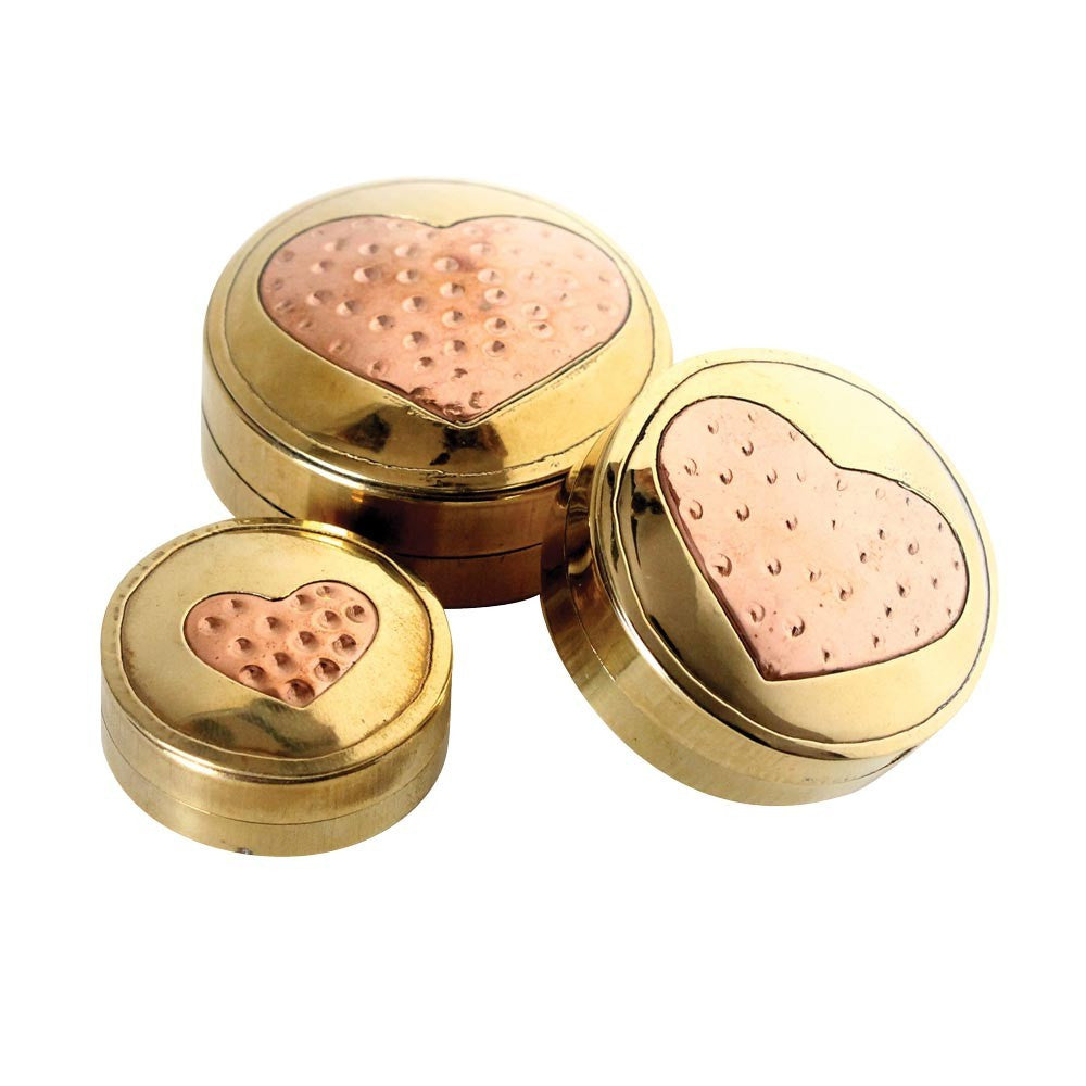 DISCONTINUED 3pc Nested Brass Containers - Copper Heart