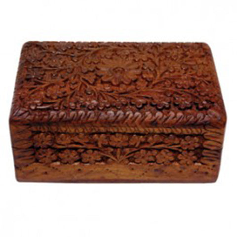 Storage Box - Carved Wood - 15.2cm x 10cm