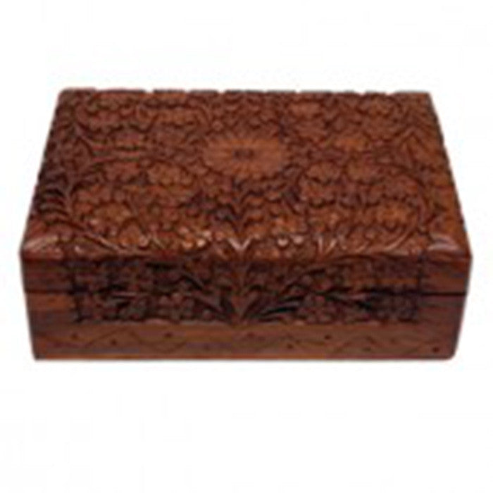 DISCONTINUED Storage Box - Carved Wood - 17.8cm x 12.7cm