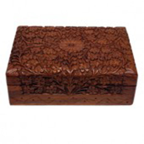 Storage Box - Carved Wood - 17.8cm x 12.7cm