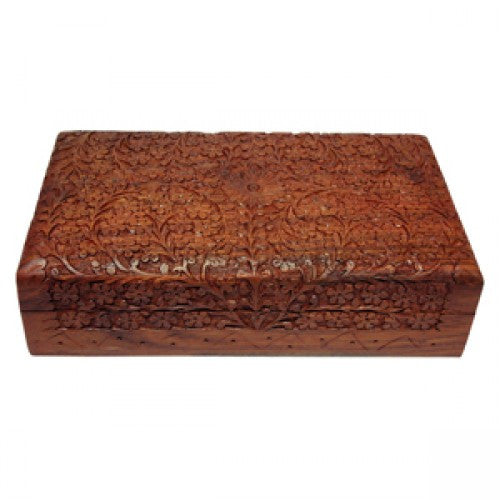 DISCONTINUED Storage Box - Carved Wood - 25.4cm x 15.2cm