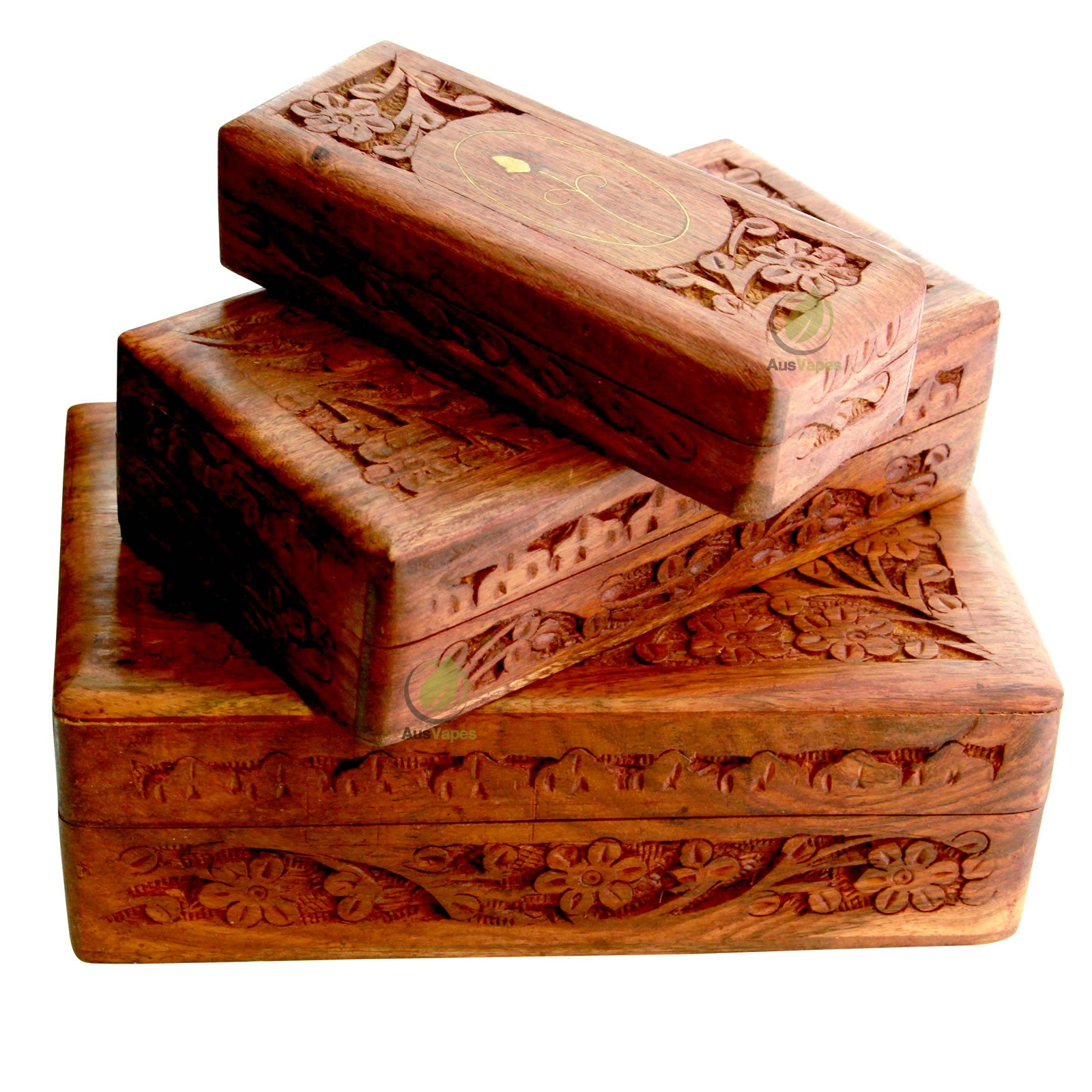 Storage Box - Carved Wood - Brass Inlay Nesting Box (3 pack)