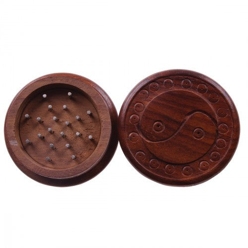 DISCONTINUED 51mm Carved Wooden Grinder w/ Yin Yang Design (2pc)