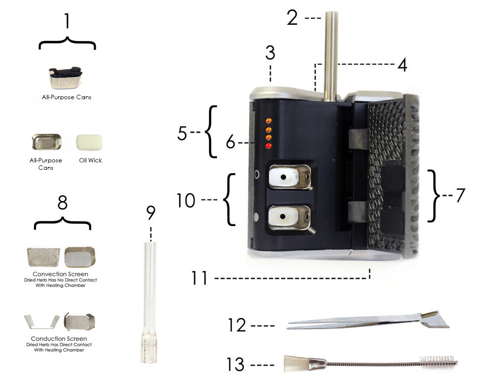 Haze V3 Vaporizer exact description of parts