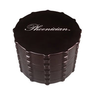 Phoenician Herb Grinder 4pc. - Large Flat Top-Black