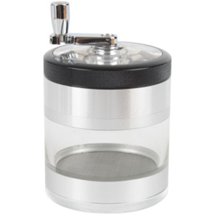DISCONTINUED Kannastor 76mm Clear Crank Top 4pc Grinder/Sifter/Jar