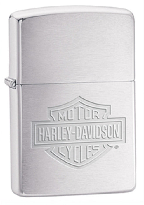 DISCONTINUED Zippo Harley-Davidson Brushed Chrome Etched Lighter