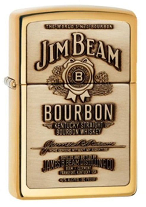 DISCONTINUED Zippo Jim Beam Full Label Brass Lighter