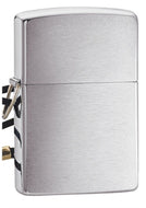 Zippo Brushed Finish Chrome Lighter w/ Loss-Proof Lead