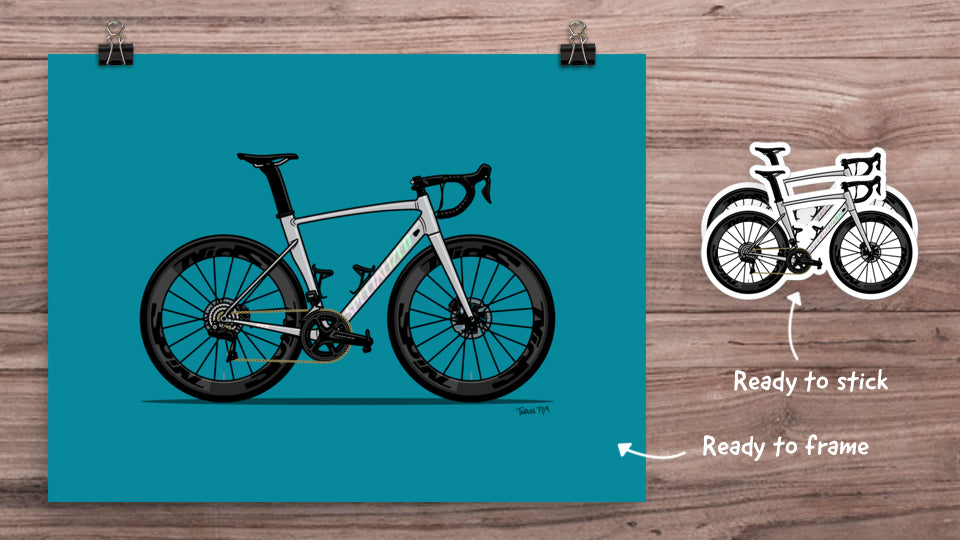Bicycle art print and stickers pack