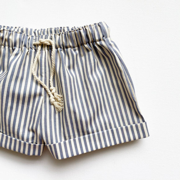 Cuffed Striped Shorts