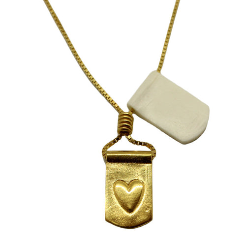 Storm Boy Label Heart Necklace Gold