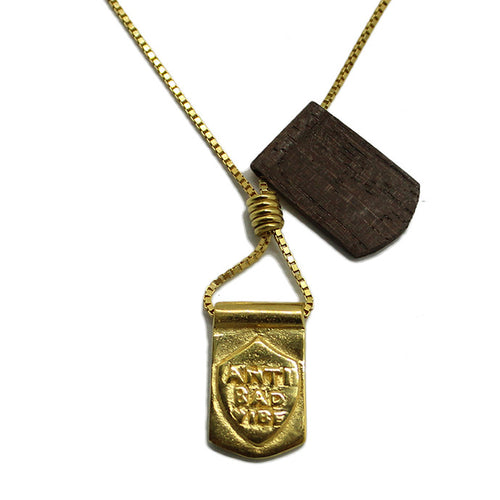 Storm Boy Label Anti Bad Double Tag Necklace Gold