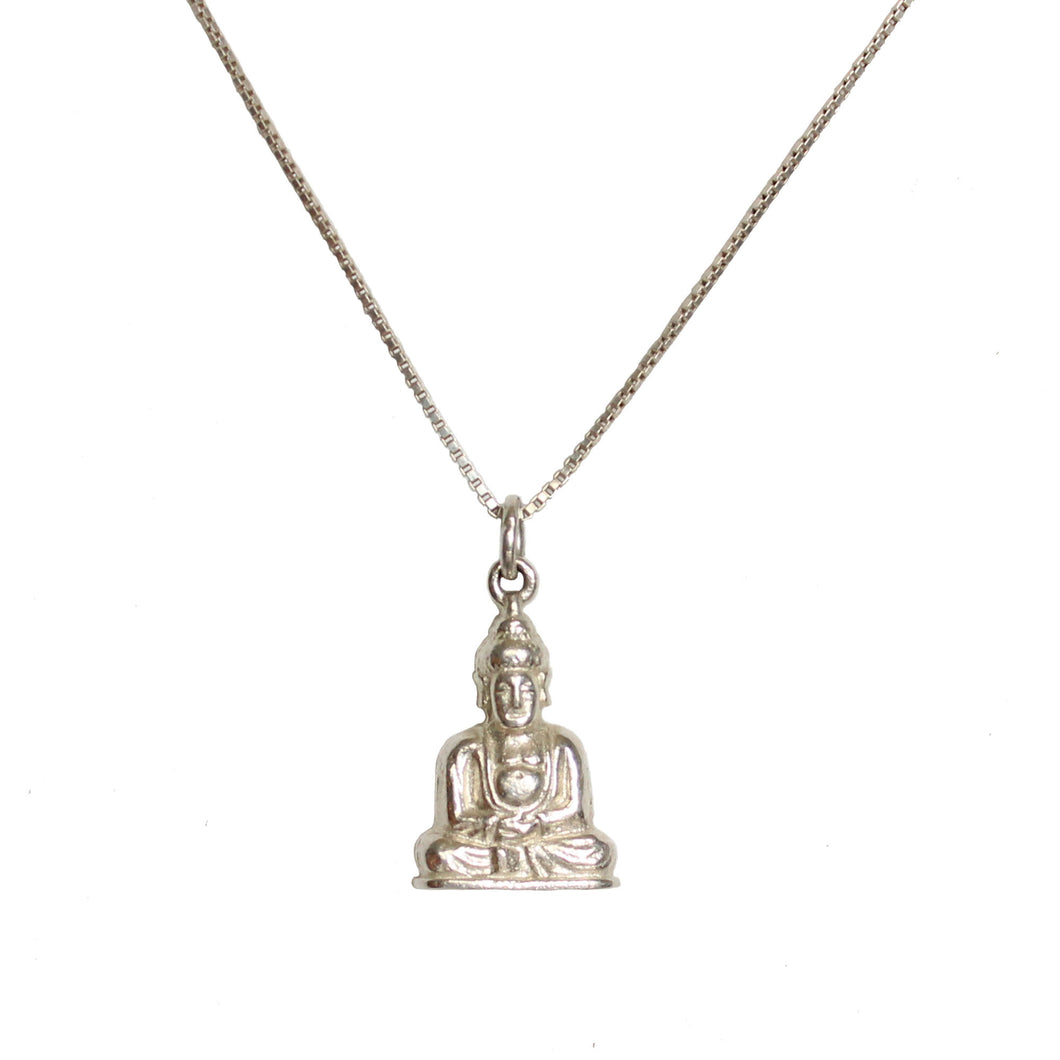 Storm Boy Label Buddha Necklace Silver