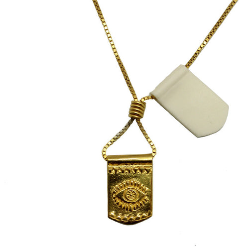 Storm Boy Label Evil Eye Necklace Gold