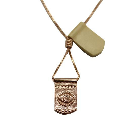 Storm Boy Label Evil Eye Necklace Rose Gold