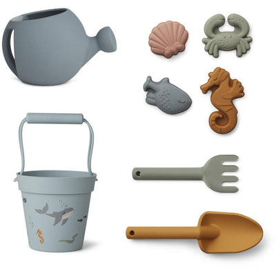 Liewood 'Florence' Beach & Garden Set: Sea Creature Blue Multi Mix
