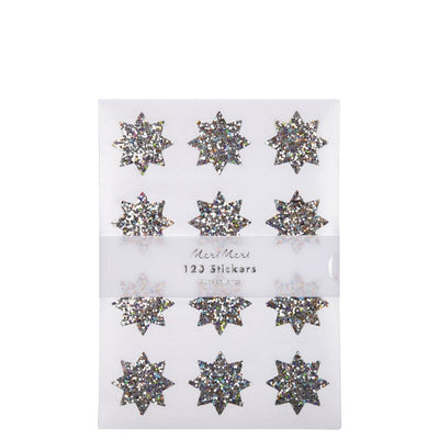 Meri Meri silver sparkle star sticker sheets