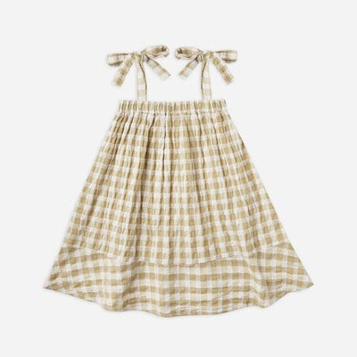 Rylee + Cru Gingham Shoulder Tie Dress: Butter | Rylee + Cru at Sisi & Seb